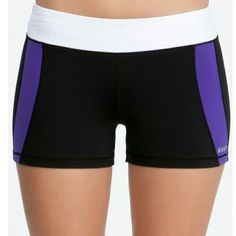 'Deep purple colorblock short' Bebe Sport 77%nylon 23% spandex. Resists fading and shrinking. Worn several times. Great condition. Happy to bundle but NO TRADES:) bebe sport Pants