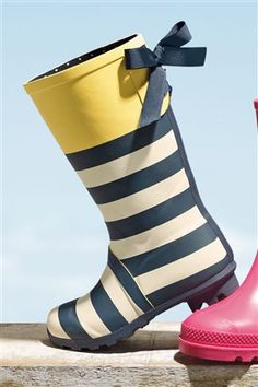 Navy Stripe Wellington Boot (Older Girls)