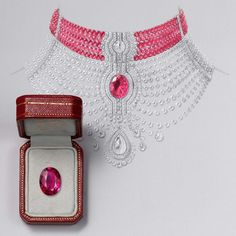 Collier Reine Makéda necklace - Platinum, one 15.29-carat oval-shaped ruby from Mozambique, one 3.51-carat D IF rose-cut diamond, one 5.10-carat D IF pear-shaped rose-cut diamond, cabochon-cut and faceted ruby beads, pear-shaped rose-cut diamonds, calibrated diamonds, brilliant-cut diamonds. The chocker ruby part and the diamond part can be worn separately.