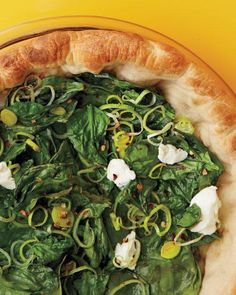 Deep-Dish Spinach and Leek Pizza Recipe