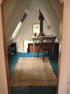 A-Frame loft - painted floor boards and ceilings