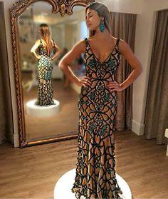 vestido de festa longo bordado