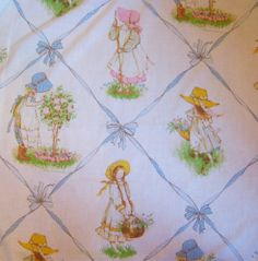 Vintage Holly Hobbie Sheets Twin Set Pillowcase 1970's Fabric Excellent | eBay