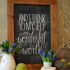 What a Wonderful World Chalkboard Printable from Dear Lillie