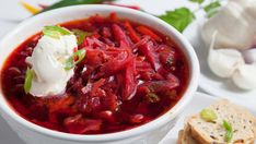 This hearty Ukrainian/Russian beet soup has it all: iron, vitamins and fibre. Gotta try this too! Beet Borscht, Borscht Recipe, Borscht Soup, Beet Soup, Soup And Salad, Ukrainian Recipes, Russian Recipes, Ukrainian Food, Russian Foods