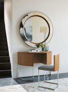 Vanity designed by Porada  Dressing table in Canaletta walnut with chromed metal frame and cleverly fitted removable chair.