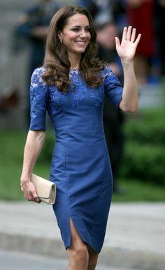 Kate Middelton in a blue lace dress by montreal designer Erdem
