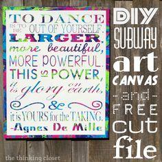 D.I.Y. Subway Art Canvas: Tutorial & Free Cut File | The Thinking Closet