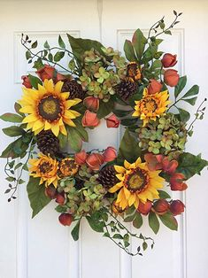 Autumn Elegance Yellow Sunflower Wreath Summer Fall Front Door Year Round Indoor Home Decor