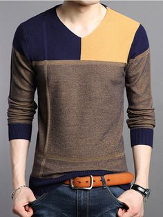 Casual Pullover Knitted Sweater Men Contrast Color V-Neck Pullovers Mens Thin Knitwear Pull Homme Slim Fit Outerwear Sudaderas Sweater Shirt, Long Sleeve Sweater, Jumper, Men Sweater, Cotton Sweater, Business Casual Sweater, Casual Sweaters, Mens Work Shirts, Polo T Shirts