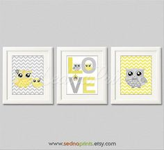 Yellow+and+Gray+Nursery+Sets | Yellow and grey owl Nursery Art Print Set 8x10 by SednaPrints, $37.50