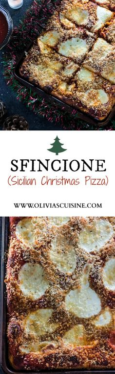 Sfincione (Sicilian Christmas Pizza)   www.oliviascuisine.com   This deep-dish pizza is topped with caramelized onions, breadcrumbs and caciocavallo. It is usually served for Christmas Eve or New Year's Eve in Sicily, but available all year long. #sponsored