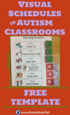 Visual Schedules for Autism Classrooms from NoodleNook- AWESOME Free Printable
