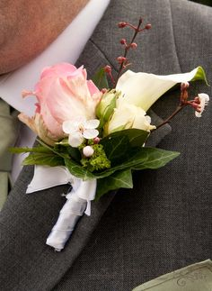 Rose and calla lily buttonhole