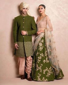 Green and beige Sangeet outfit for couple Indian Groom Wear, Indian Bridal Wear, Indian Wedding Outfits, Indian Attire, Indian Outfits, Indian Engagement Outfit, Mens Indian Wear, Indian Clothes, Indian Weddings