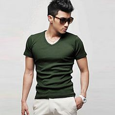 PPZ Men's Fashion Solid Color Short Sleeve T Shirt-58 (Green)