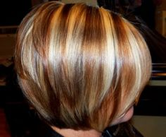Bold blonds with a golden/copper brown low light.   Very texturized / layered bob. Love the colors!!!
