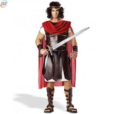 The Roman soldier costume is a historic warrior costume for Hercules or other famous greek or roman soldiers. Be an Spartan, Greek, or Roman soldier. Unique Couple Halloween Costumes, Halloween Cosplay, Adult Costumes, Ninja Costumes, Roman Costumes, Male Costumes, Greek Costumes, Toga Costume, Costume Shop