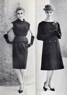 Givenchy 1960 Vogue - pointed toe kitten heel, pencil skirt, a-line jacket, 3/4 gloves