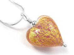 Murano Glass Heart Pendant Necklace - Gold Heart Pendant Necklace, Murano Glass, Pretty In Pink, Sterling Silver Jewelry, Salmon, Pendants, Chain, Crystals, Earrings