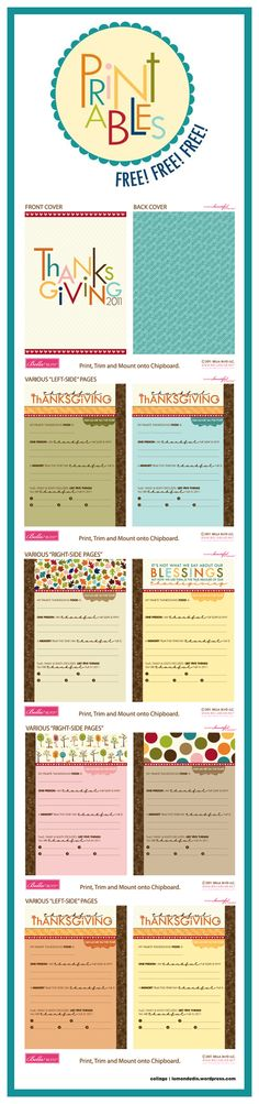 Fridays With Stephanie - FREE Digital Printables Mini Albums, Project Life, Free Printables, Journals, Thankful, Thanksgiving, Memories, Holiday, Memoirs