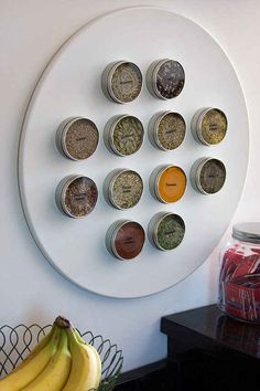 A set of magnetic spice tins that you can hang on the side of your fridge.