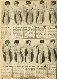 Women's corsets from 1912 Sears catalog. I never realized how many different variations there could be