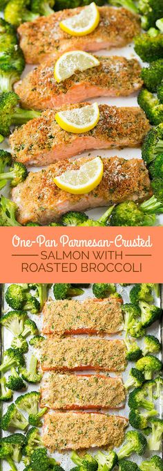 Parmesan Crusted Salmon & Broccoli {One Pan Recipe!} – Cooking Classy Single Sheet Pan Parmesan Crusted Salmon with Roasted Broccoli – everything is roasted together on one pan so clean up is a breeze! It's healthy and it tastes incredible! Seafood Dishes, Seafood Recipes, Cooking Recipes, Cooking Tips, Healthy Salmon Recipes, Cooking Food, Cooking Videos, Fish Dishes, Skin On Salmon Recipes