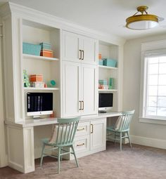 Loft area features a built in desk for two. Cabinet paint color is Benjamin Moore Simply White. Sita Montgomery Design Loft area features a built in desk for two. Cabinet paint color is Benjamin Moore Simply White. Office Built Ins, Built In Desk, Built In Cabinets, Basement Built Ins, Ikea Cabinets, Office Cabinets, Built In Storage, Storage Shelves, Desk For Two