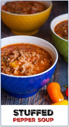 This easy stuffed pepper soup is a hearty bowl of yumminess. Easy to make and thick enough to be a stew. Your family will love it.