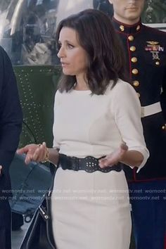 Selina's white three-quarter sleeve dress on Veep.  Outfit Details: https://wornontv.net/69810/ #Veep