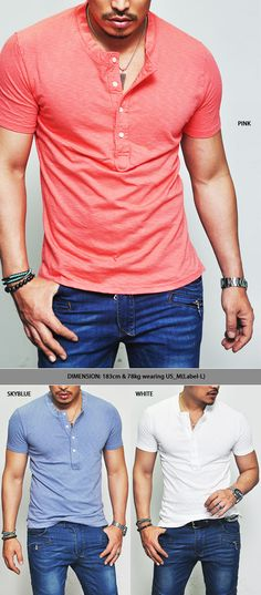 Tops :: Tees :: Washed Slub Henley Button Neck-Tee 223 - Mens Fashion Clothing For An Attractive Guy Look Returns in April Gents Fashion, Henleys, Attractive Guys, Henley Shirts, Mens Clothing Styles, Different Styles, Babe, My Style, Tees