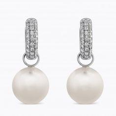 Pendientes de oro blanco con perla esférica Australiana y diamantes talla brillante con cierre de aro - Perlas - Colecciones