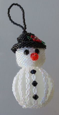 Snowman Christmas Tree Ornament Handmade of Delicas and Crystals in Peyote Stitch