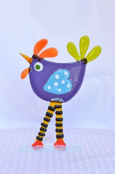 Whimsical Fused Glass Birdie By Saskia