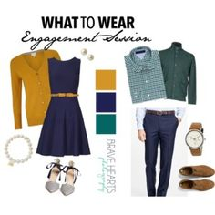 Outfit Inspiration for a couple doing an engagement photo shoot.  Gold, Navy and Green work well together as they have a split complementary relationship on the color wheel.  Jewel tones are always a good choice!  A great color combo for fall or redheads!