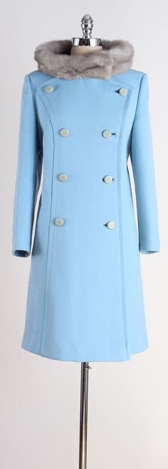 vintage 1960s coat . light blue wool . mink by millstreetvintage