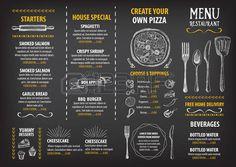 blackboard menu: Restaurant café menu, la conception de modèle. dépliant alimentaire.