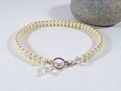 Cream Bead Bracelet Bridal Bracelet Sterling by BeauBellaJewellery