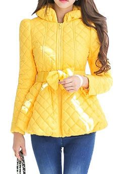 DIAMOND QUILTED BOW ACCENT DOWN JACKET | YELLOW | The Style Mob