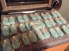 Flip Flop Nutter Butter Cookies as favors for my sister's beach themed bridal shower brunch.