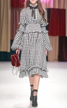 Gingham Balloon Sleeve Dress by Marianna Senchina