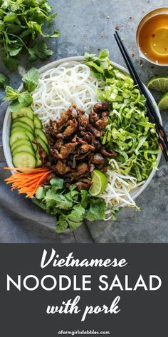 Noodle Salad with Pork from - A fresh and easy recipe for a traditional Vietnamese salad featuring rice noodles crunchy vegetables herbs and quick-seared pork with big bold flavor. Served with a rice vinegar dressing to bring it all together. Pork Recipes, Asian Recipes, Cooking Recipes, Healthy Recipes, Ethnic Recipes, Healthy Vietnamese Recipes, Healthy Japanese Recipes, Easy Recipes, Kitchen Recipes