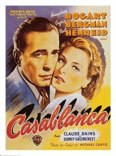 Original Spanish poster from the film ' Casablanca ' starring Humphrey Bogart, Ingrid Bergman and Claude Rains. Posters Vintage, Old Movie Posters, Classic Movie Posters, Cinema Posters, Classic Movies, Retro Posters, Ingrid Bergman, Humphrey Bogart, Old Movies