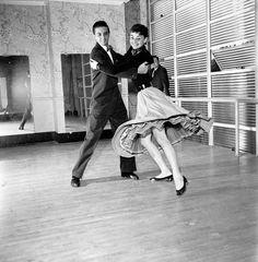 Audrey Hepburn dancing in studio