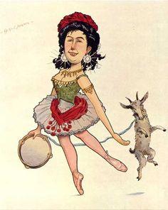 "Caricature of ballerina Matilde Kshesinska (1872 – 1971) by Nikolai Gustavovich Legat (1869-1937) and Sergei Gustavovich Legat (1875-1905) from their celebrated book ""Russian Ballet in Caricatures"" (Рускій балетъ въ карикатурахъ), circa 1902-1905."