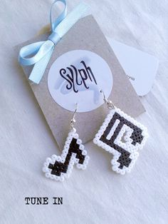 Earrings made of Hama Mini Beads Tune In by SylphDesigns on Etsy, €5.00