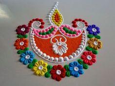 by DEEPIKA PANT Easy Rangoli Designs Videos, Easy Rangoli Designs Diwali, Rangoli Designs Latest, Simple Rangoli Designs Images, Free Hand Rangoli Design, Rangoli Border Designs, Small Rangoli Design, Rangoli Patterns, Rangoli Ideas