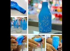 Today I bring a very nice suggestion, which are Glass bottles (long neck beer Wine Bottle Crafts, Bottle Art, Jar Crafts, Diy And Crafts, Bottles And Jars, Glass Bottles, Balloon Decorations, Baby Shower Decorations, Baby Shower Ideas For Boys Centerpieces
