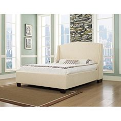 @Overstock - This Oxford-X bed features a clean arched sillhouette headboard embraced with side wings. This beautiful piece is accented with hand made individual nail heads finished in brushed nickel.  http://www.overstock.com/Home-Garden/Oxford-X-Eastern-Wheat-King-size-Fabric-Bed/6477580/product.html?CID=214117 $1,042.99